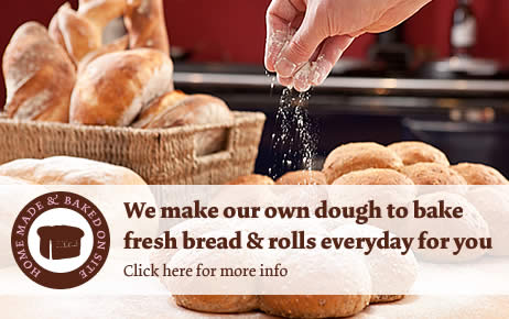 Click for info on our ranges of Freshly made bread and rolls